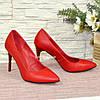 Туфли женские на высоком каблуке, красная кожа, фото 4