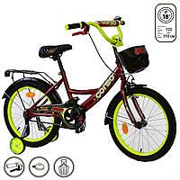 Велосипед детский 2-х двухколесный 18 дюймов с дополнительными колесами CORSO красный для детей от 4-7 лет