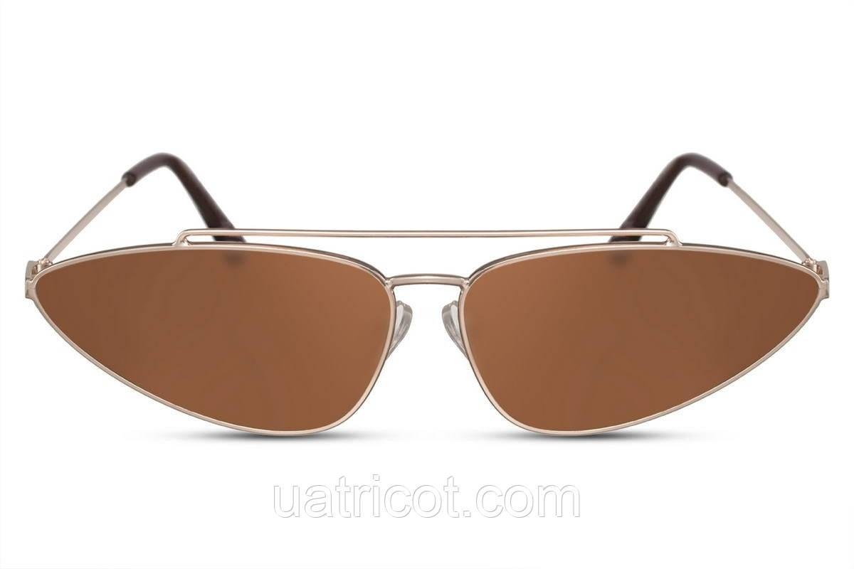 Женские ретро очки в золотой металлической оправе с коричневыми линзами