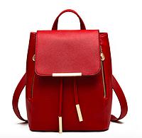 Рюкзак женский кожзам на шнурке Glamur Красный