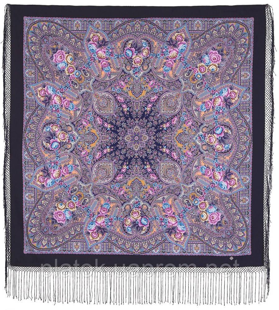 Осінні дзвони 1845-15, павлопосадский хустку (шаль) з ущільненої вовни з шовковою бахромою в'язаній