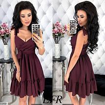 Легкое платье мини юбка солнце клеш на завязывающихся бретелях бордового цвета, фото 2