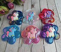 Дитячі гумки для волосся Поні текстиль з напиленням 80096, фото 1