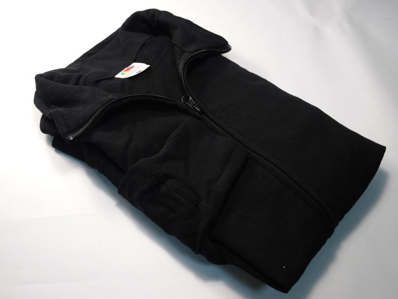 Лёгкая мужская кофта на молнии Чёрная размер M 62-160-36