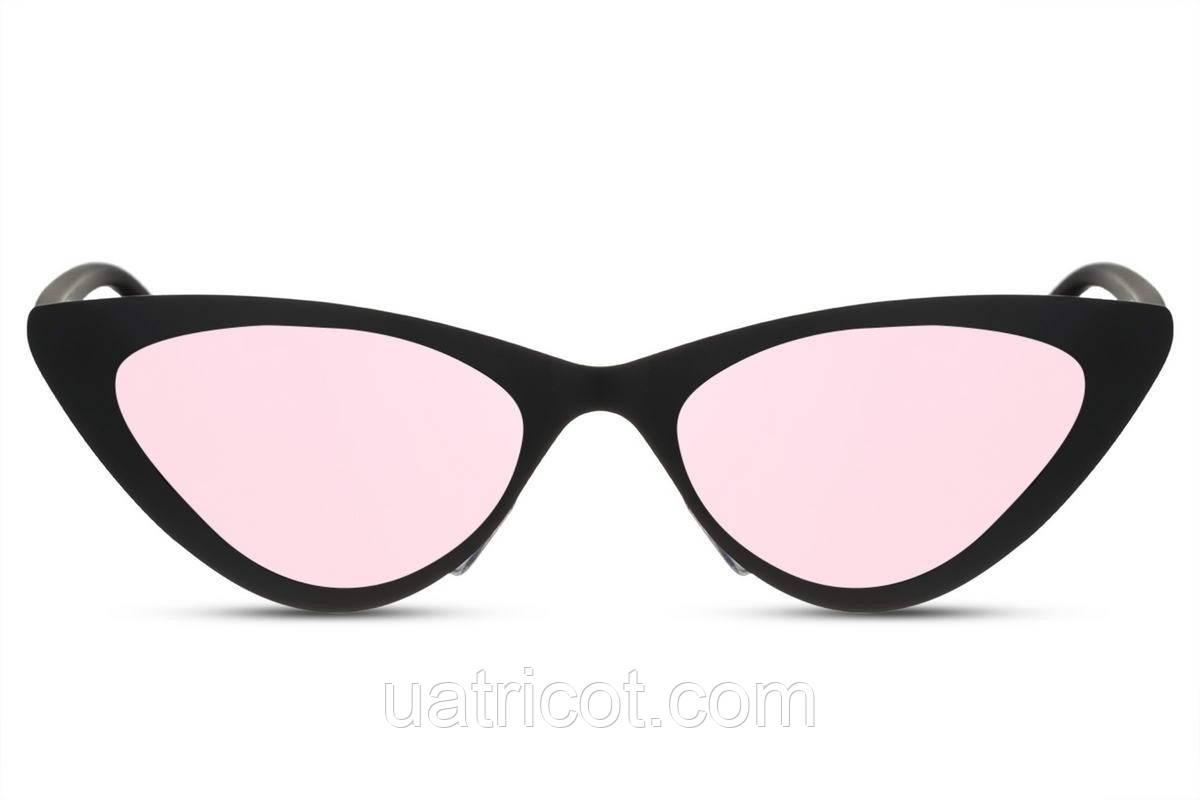 Женские солнцезащитные очки лисички в черной матовой металлической оправе с розовыми зеркальными линзами