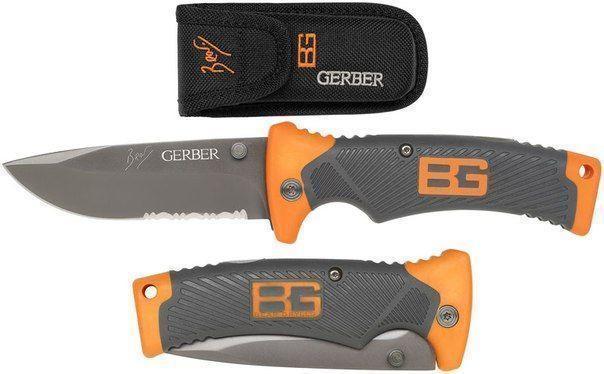 Туристичний складаний ніж для виживання Gerber Scout Bear Grylls + чохол