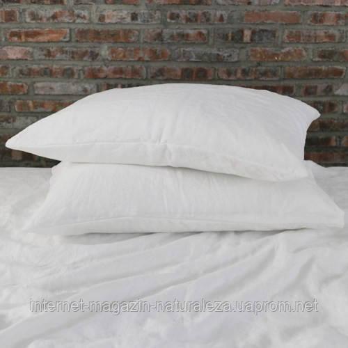 Льняное постельное белье 210х175 белый цвет