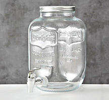 Лимонадница банка с краником для напитков 4 литра стекло h26см Гранд Презент 1001927