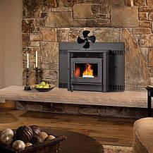 Каминный вентилятор Tohsssik с 4-мя лопастями для дровяной печи, камина с термометром, фото 2