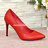 Туфли женские на высоком каблуке, красная кожа, фото 2