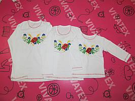 Детская вышиванка для девочки длинный рукав Мак-василек интерлок