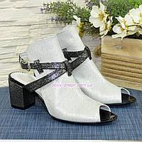 Босоножки женские на устойчивом каблуке, цвет белый/черный