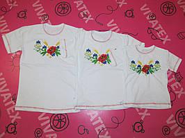 Детская вышиванка для девочки с коротким рукавом Мак-василек интерлок