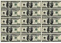 """Вафельная картинка деньги """"Доллары"""""""