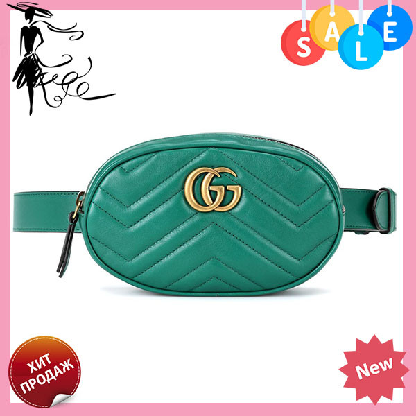 256d44520234 Женская поясная сумочка GUCCI Marmont   сумка на пояс Гуччи Зеленая