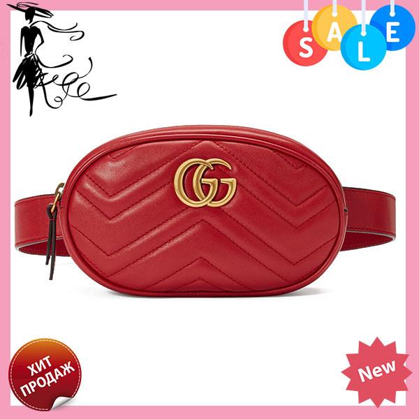 136584256153 Женская поясная сумочка GUCCI Marmont   сумка на пояс Гуччи Красная