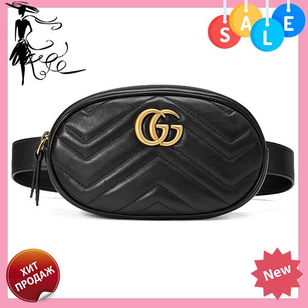 255f04c1842d Женская поясная сумочка GUCCI Marmont   сумка на пояс Гуччи Черная
