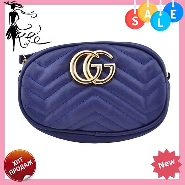 605e535ae25f Женская поясная сумочка GUCCI Marmont   сумка на пояс Гуччи Синяя