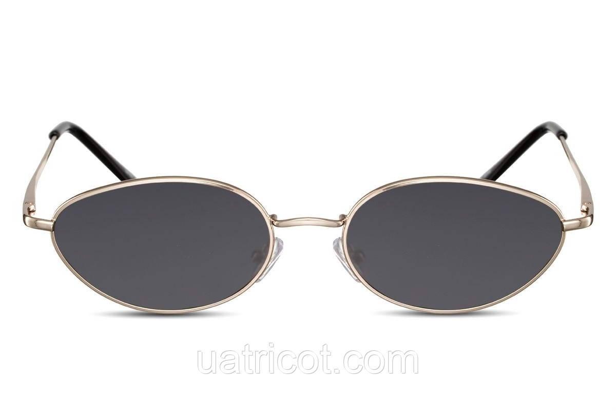 Женские солнцезащитные ретро очки в золотой металлической оправе с черными овальными линзами