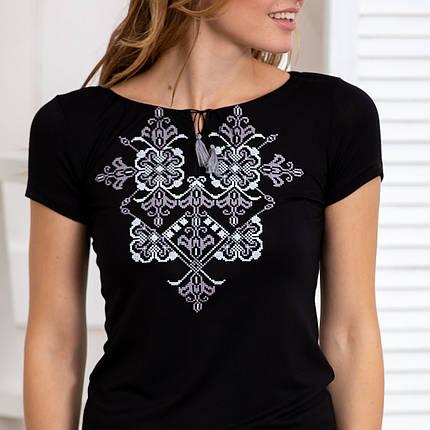 Женская футболка вышиванка Орнамент серебро черная, фото 2
