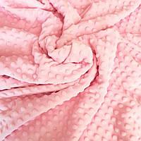 Плюш минки точка розовый плотность 360 г/м2