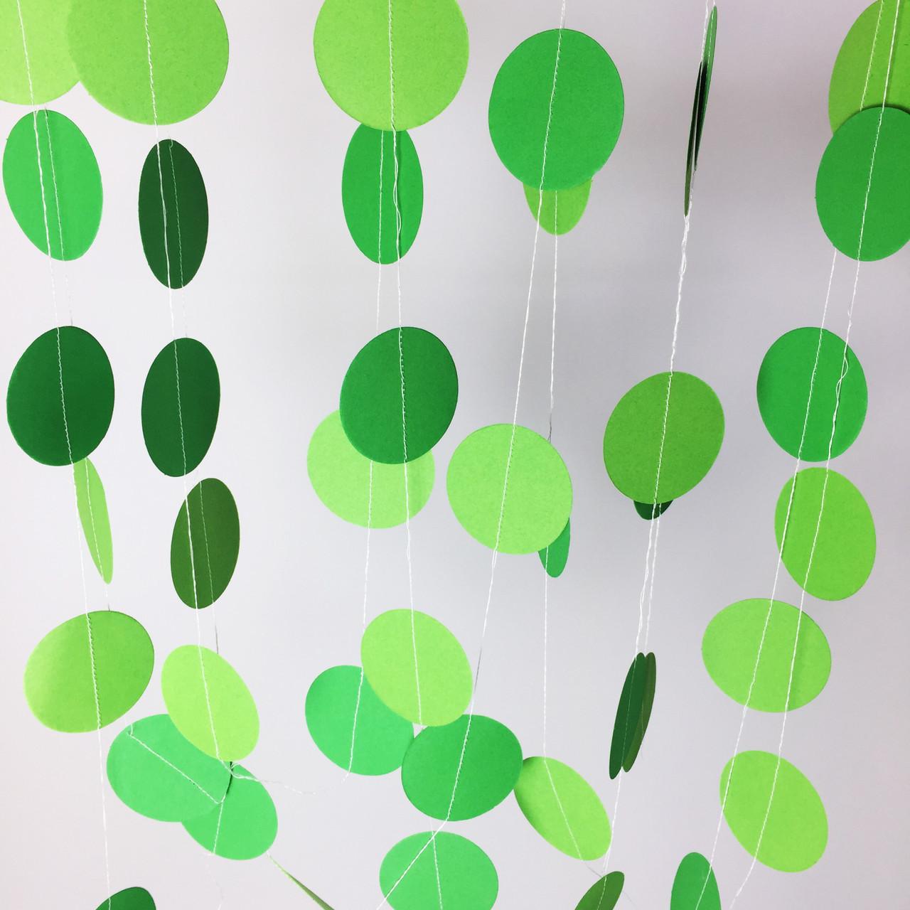 Паперова гірлянда з кіл 2 метри зелений мікс