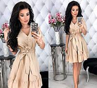 Женское платье с поясом из льна
