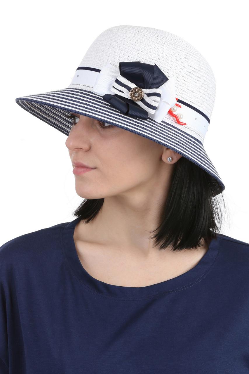 Шляпа женская с маленькими полями белая с синим
