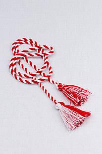 Шнурок с кисточками двухцветный (красно-белый)