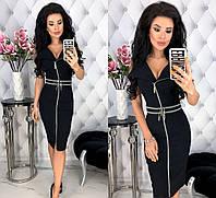 Женское облегающее платье на молнии с коротким рукавом из стрейч - джинса 42 - 48 рр