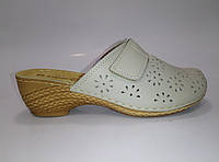 Женские молочные кожаные сабо ТМ Inblu, фото 1