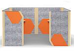 Кабина двойная Cabi фетр серый /фетр оранжевый, белый беж, фото 2