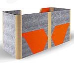 Кабина двойная Cabi фетр серый /фетр оранжевый, белый беж, фото 3