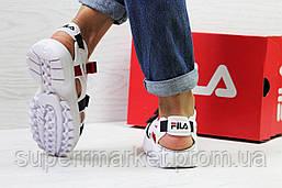 Женские сандалии  Fila, белые с синим и красным  Топ реплика ААА+  5302, фото 2