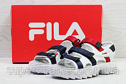 Женские сандалии  Fila, белые с синим и красным  Топ реплика ААА+  5302, фото 3