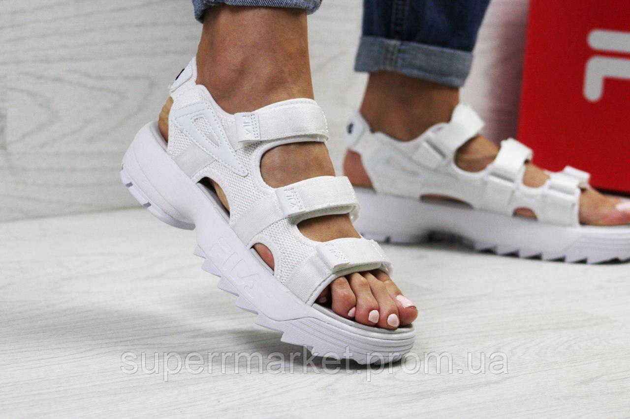 Женские сандалии  Fila, белые (Топ реплика ААА+) 5303