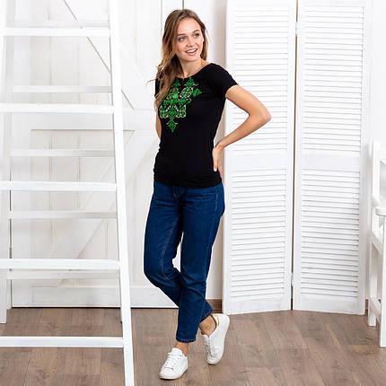 Женская футболка вышиванка Орнамент зеленый черная, фото 2