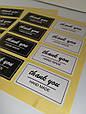 Наклейки Thank you hand made для подарков, хенд-мейд, скрапбукинга черно-белые (0008), фото 5