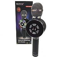Беспроводной караоке-микрофон WSTER WS-669 с LED подсветкой черный