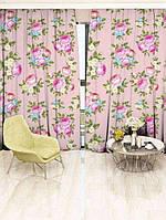 Фотоштора Walldeco Цветы на розовом фоне (29443_1_2)