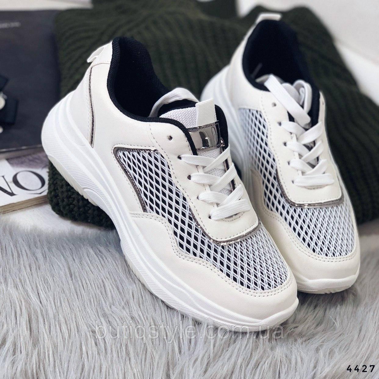 38 размер Женские кроссовки белые с черным, экокожа 3Д сетка