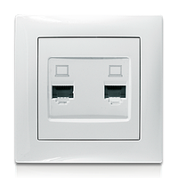 Розетка компьютерная двойная белая Erste electric Triumph