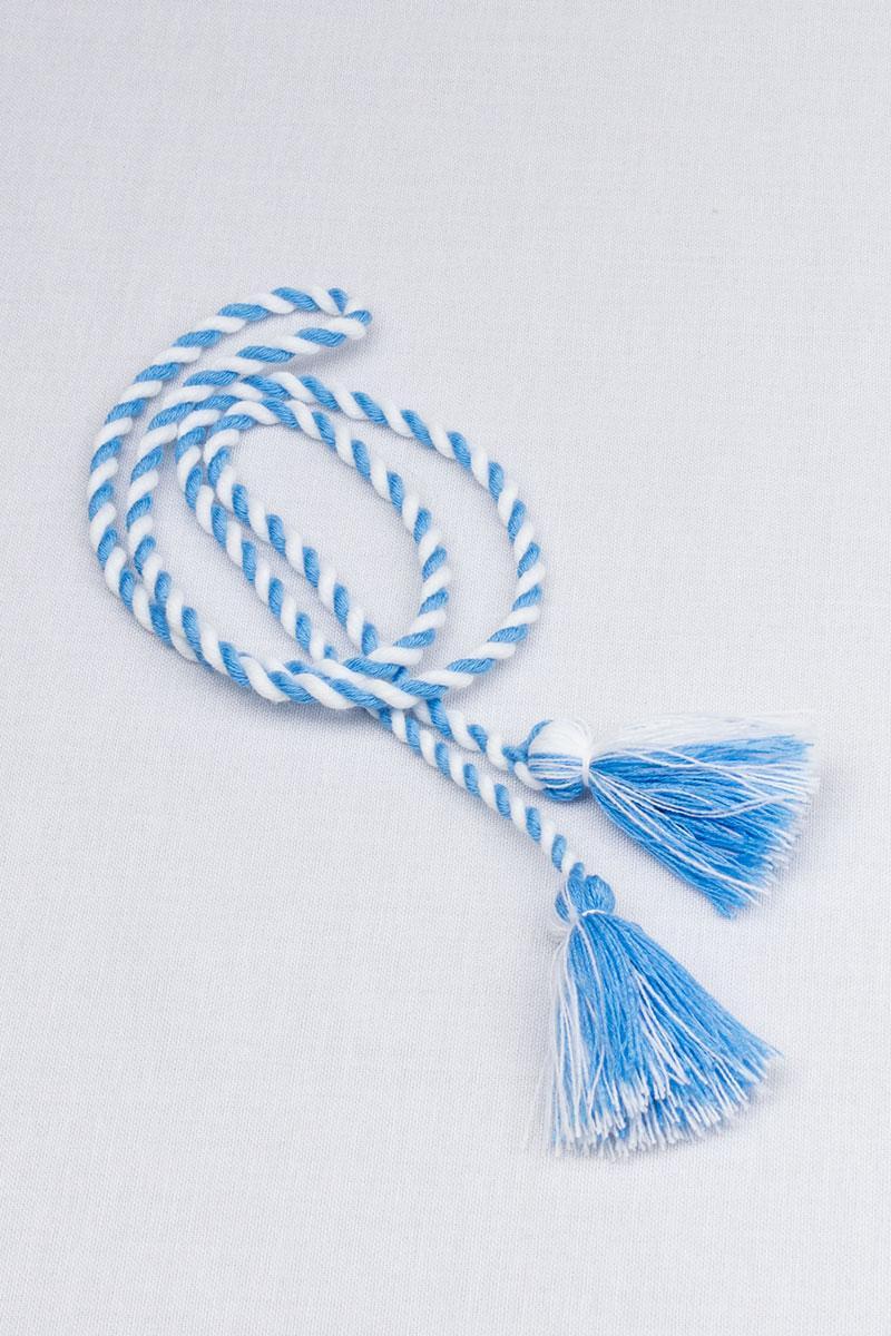 Двухцветный шнурок с кисточками (бело-голубой)