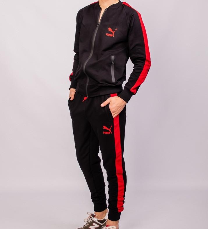 7722687df50a Мужской спортивный костюм Пума черный с красным лампасом: продажа ...