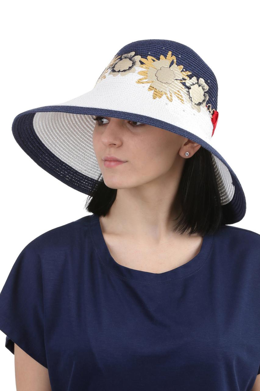 Шляпа с большими полями синяя с белым