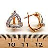 Серьги Xuping из медицинского золота с белыми фианитами (куб. цирконием), в позолоте, ХР00043 (1), фото 2