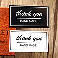 Наклейки Thank you hand made для подарков, хенд-мейд, скрапбукинга черно-белые (0008), фото 4
