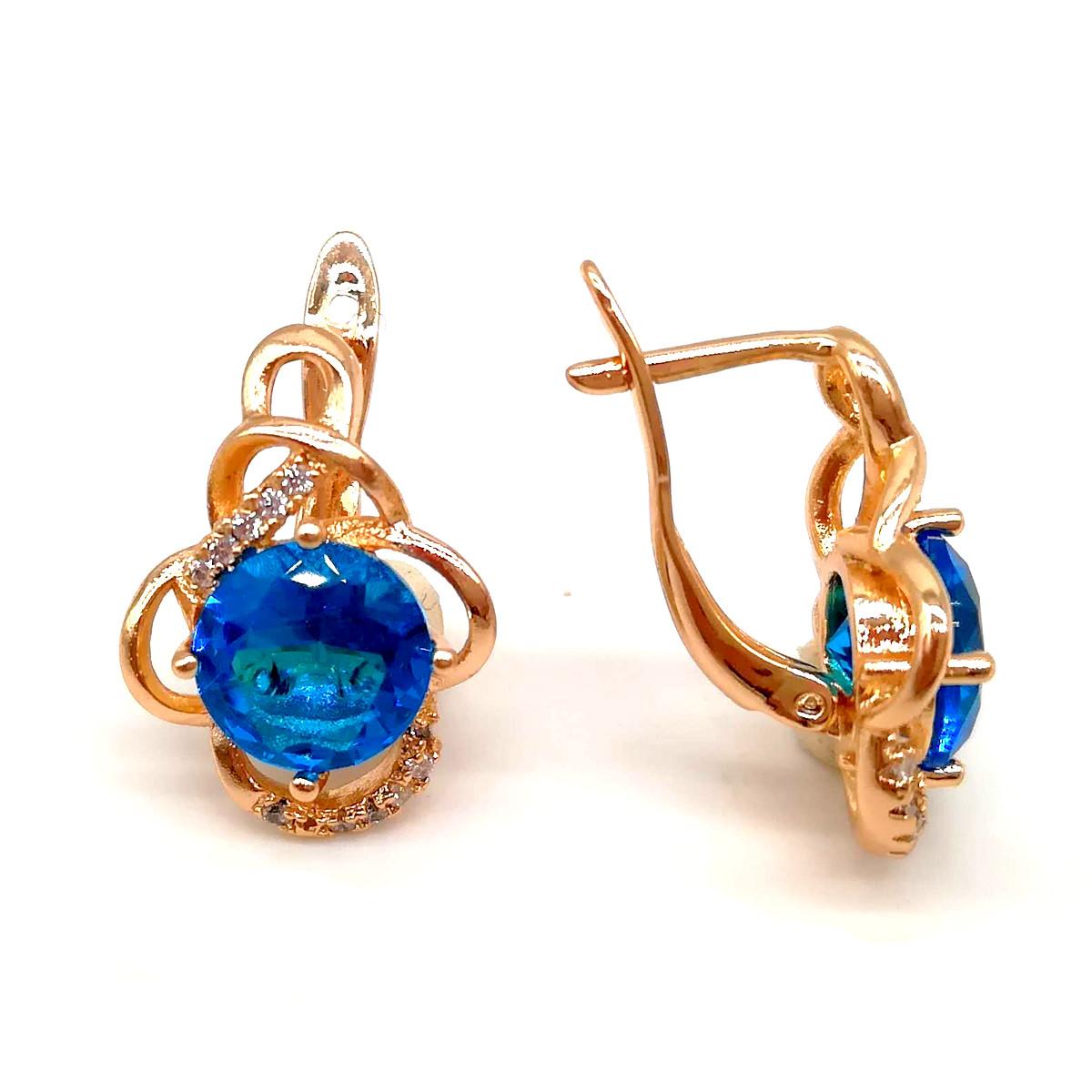 Серьги Xuping из медицинского золота, в позолоте, с голубыми фианитами (куб. цирконием), ХР00028 (1)