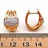 Серьги Xuping из медицинского золота с белыми фианитами (куб. цирконием), в позолоте 18К + родий, размер 18х15, фото 2