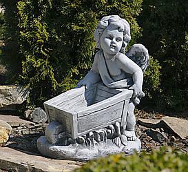 Садовая фигура Ангел с тележкой